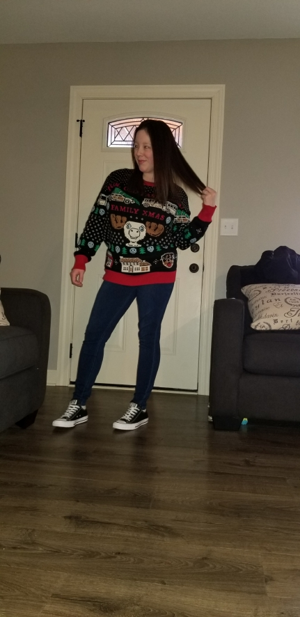 me in sweater